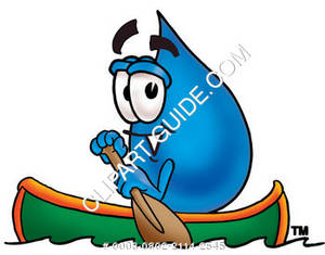 Cartoon Water Drop Character in a Canoe Clipart Picture