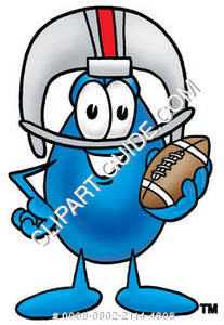 Cartoon Water Drop Character Playing Football Clipart Picture