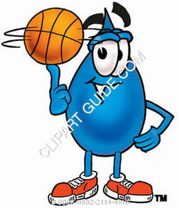 Cartoon Water Drop Character Playing Basketball Clipart Picture