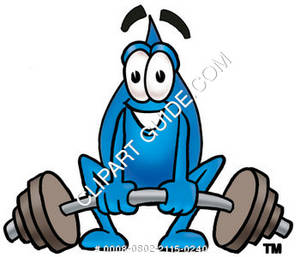 Cartoon Water Drop Character Lifting Weights Clipart Picture