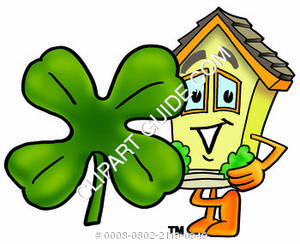 Cartoon House Character with Shamrock Clipart Picture
