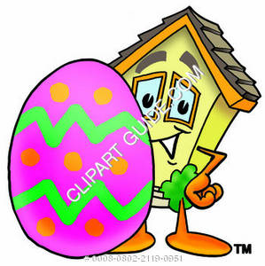 Cartoon House Character with Easer Egg Clipart Picture