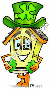 Cartoon House Character with Irish Hat Clipart Picture