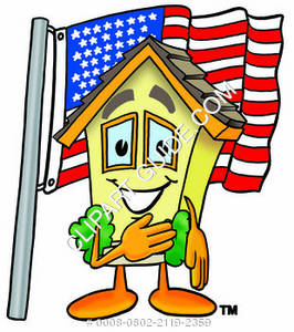 Cartoon House Character with American flag Clipart Picture