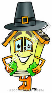 Cartoon House Character Wearing a Pilgrim Hat Clipart Picture