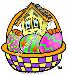 Cartoon House Character with Easter Basket Clipart Picture