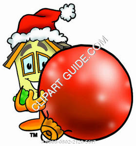 Cartoon House Character with Christmas ornament Clipart Picture