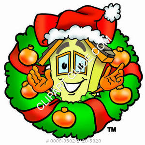 Cartoon House Character with Christmas Wreath Clipart Picture