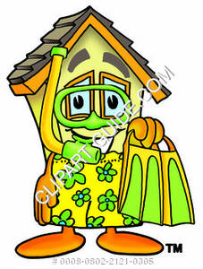 Cartoon House Character with Snorkel Gear Clipart Picture