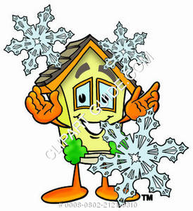Cartoon House Character with Snowflakes Clipart Picture