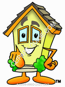 Cartoon House Character Pointing Clipart Picture