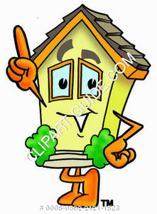 Cartoon House Character Pointing Up Clipart Picture