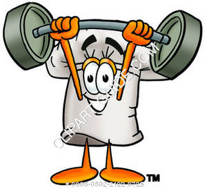 Chef Hat Cartoon Character Lifting Weights