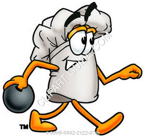 Chef Hat Cartoon Character Bowling