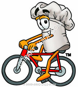 Chef Hat Cartoon Character Riding A Bike