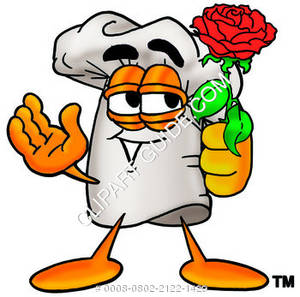 Cartoon Chef With Flowers