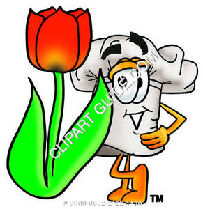Cartoon Chef With A Tulip