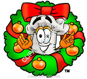 Cartoon Chef With A Christmas Wreath