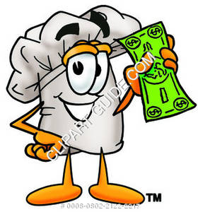 Chef Holding Money