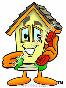 Cartoon House Holding A Phone