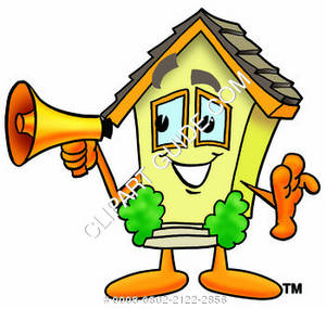 Cartoon House Holding A Megaphone