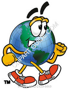 Cartoon Globe Walking