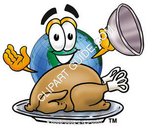 Cartoon Earth With A Thanksgiving Turkey