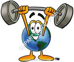 Cartoon Planet Lifting Weights
