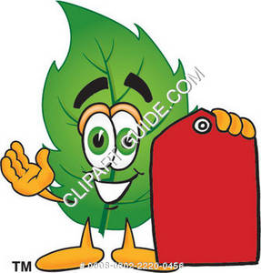 Cartoon Green Leaf Holding A Price Tag