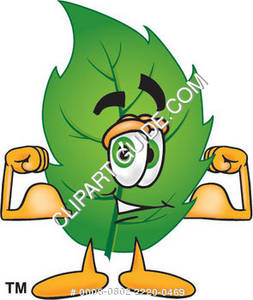 Cartoon Green Leaf Flexing His Muscles