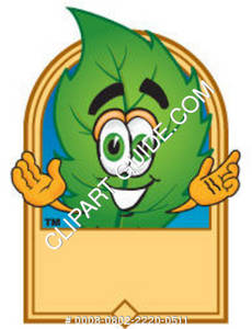 Cartoon Green Leaf Logo Graphic