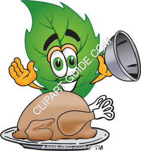 Cartoon Green Leaf With A Thanksgiving Turkey