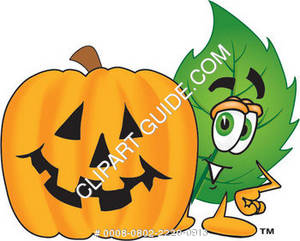 Cartoon Green Leaf With A Halloween Pumpkin