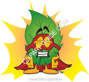 Cartoon Green Leaf Super Hero