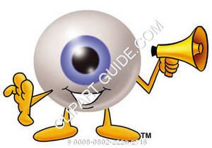 Cartoon Eye Holding A Megaphone