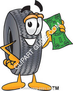 Cartoon Tire Holding Money