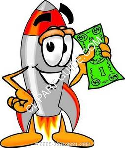Rocket Character Holding Money