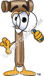 Cartoon Mallet Holding A Magnifying Glass