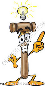 Cartoon Mallet With A Bright Idea