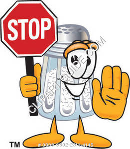 Cartoon Salt Shaker Holding A Stop Sign