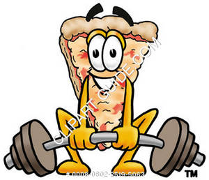 Cartoon Pizza Lifting Weights
