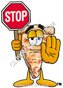 Cartoon Pizza Holding A Stop Sign