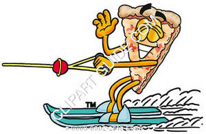 Cartoon Pizza Water Skiing