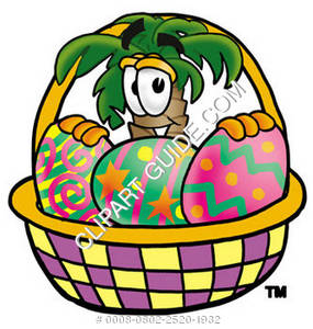 Cartoon Palm Tree In An Easter Basket