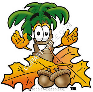 Cartoon Palm Tree With Acorns and Leaves