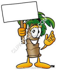 Cartoon Palm Tree Holding A Sign