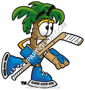 Cartoon Palm Tree Playing Hockey
