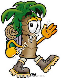 Cartoon Palm Tree Hiking