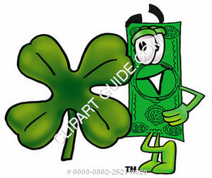 Illustration of Cartoon Dollar Character with Four Leaf Clover