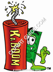 Illustration of Cartoon Dollar Character with Fireworks